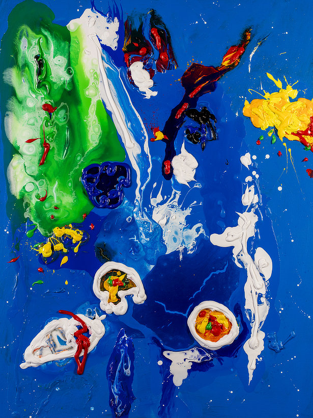 Homage to John Hoyland a Contemporary Abstract painting by Tom Bushnell